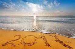 Écrit 2017 sur la plage Photographie stock