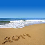2014 nouvelles années sur la plage Photo libre de droits