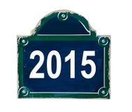 2015 écrit sur la plaque de rue des Frances de Paris Images libres de droits