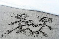 Écrit sur le sable Photographie stock