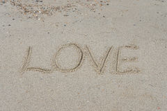 Écrit sur le sable de mer Image libre de droits