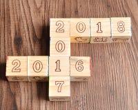 2016 2017 2018 écrits avec les blocs en bois Images libres de droits