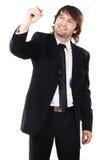 Écriture élégante d'homme d'affaires avec un repère Photographie stock libre de droits
