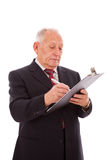 Écriture aînée d'homme d'affaires Images libres de droits