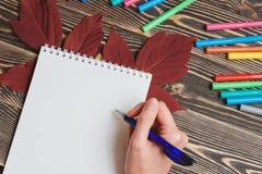 Écriture bien femelle de main dans le carnet vide sur le Tableau en bois Photographie stock