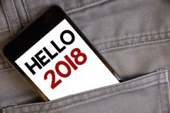 Écriture bonjour 2018 des textes d'écriture La signification de concept commençant un message de motivation 2017 de nouvelle anné Photographie stock libre de droits