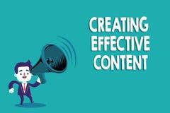 Écriture conceptuelle de main montrant créant le contenu efficace Utilisateur instructif de données de valeur des textes de photo illustration de vecteur