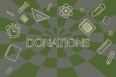 Écriture conceptuelle de main montrant des donations Photo d'affaires présentant quelque chose qui est donnée au montant d'argent illustration de vecteur
