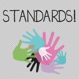 Écriture conceptuelle de main montrant des normes Directives de règlements de contrôles de qualité des textes de photo d'affaires illustration de vecteur