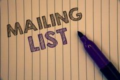 Écriture conceptuelle de main montrant des photos d'affaires de liste d'adresses présentant des noms et adresse des personnes vou photographie stock