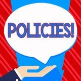 Écriture conceptuelle de main montrant des politiques Règlements de présentation de règles de société commerciale ou de gouvernem illustration de vecteur