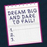 Écriture conceptuelle de main montrant grand rêveur et le défi pour échouer L'inspiration de motivation des textes de photo d'aff images stock
