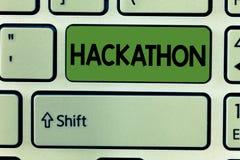 Écriture conceptuelle de main montrant Hackathon Événement des textes de photo d'affaires où le grand nombre de la représentation photo libre de droits
