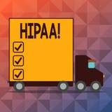 Écriture conceptuelle de main montrant Hipaa Portabilité d'assurance médicale maladie des textes de photo d'affaires et acte de r illustration stock