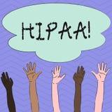 Écriture conceptuelle de main montrant Hipaa Portabilité d'assurance médicale maladie de photo d'affaires et acte de présentation illustration libre de droits
