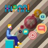 Écriture conceptuelle de main montrant Hipaa Portabilité d'assurance médicale maladie de photo d'affaires et acte de présentation illustration de vecteur