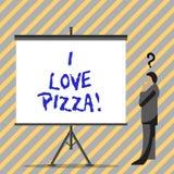 Écriture conceptuelle de main montrant j'aime la pizza Texte de photo d'affaires pour aimer la nourriture beaucoup italienne avec illustration stock