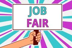 Écriture conceptuelle de main montrant Job Fair Photo d'affaires présentant un événement où une personne peut faire acte de candi illustration libre de droits
