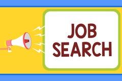 Écriture conceptuelle de main montrant Job Search Texte de photo d'affaires un acte de la personne pour trouver le travail adapté illustration libre de droits