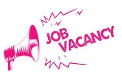Écriture conceptuelle de main montrant Job Vacancy Endroit payé vide ou disponible des textes de photo d'affaires dans le petit o illustration stock