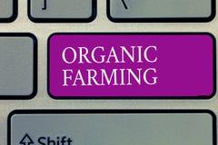 Écriture conceptuelle de main montrant l'agriculture biologique Texte de photo d'affaires un système d'exploitation agricole inté photographie stock libre de droits