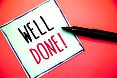 Écriture conceptuelle de main montrant l'appel de motivation bien fait Texte bon Job Great Results Positive EvaluationIdeas de ph photographie stock libre de droits