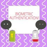 Écriture conceptuelle de main montrant l'authentification biométrique La vérification de présentation d'identité de photo d'affai illustration stock