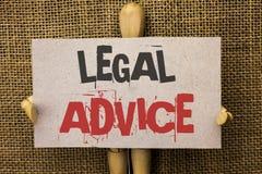Écriture conceptuelle de main montrant l'avis juridique Recommandations des textes de photo d'affaires données par l'avocat ou l' Photographie stock