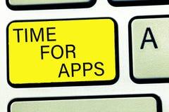 Écriture conceptuelle de main montrant l'heure pour Apps Texte de photo d'affaires le meilleur service complet qui aides communiq photos stock