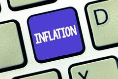 Écriture conceptuelle de main montrant l'inflation Photo d'affaires présentant des prix d'augmentation et la valeur d'achat génér photo stock