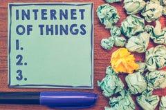 Écriture conceptuelle de main montrant l'Internet des choses Connexion de présentation de photo d'affaires des dispositifs au fil photographie stock libre de droits