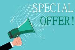 Écriture conceptuelle de main montrant l'offre spéciale Photo d'affaires présentant la vente folle escomptée d'articles promotion illustration de vecteur