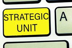 Écriture conceptuelle de main montrant l'unité stratégique Centre de profits des textes de photo d'affaires concentré sur l'offre image libre de droits