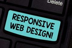Écriture conceptuelle de main montrant la conception web sensible Création de présentation de page Web de photo d'affaires qui se photo stock