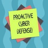 Écriture conceptuelle de main montrant la défense proactive de Cyber Anticipation des textes de photo d'affaires pour s'opposer à illustration stock