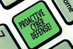 Écriture conceptuelle de main montrant la défense proactive de Cyber Anticipation des textes de photo d'affaires pour s'opposer à illustration de vecteur