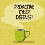 Écriture conceptuelle de main montrant la défense proactive de Cyber Anticipation de présentation de photo d'affaires pour s'oppo illustration libre de droits