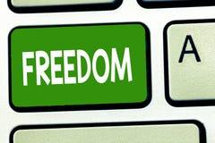 Écriture conceptuelle de main montrant la liberté La puissance de présentation de photo d'affaires ou le bon acte parlent ou pens illustration stock