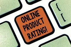 Écriture conceptuelle de main montrant la notation de produit en ligne Retour de présentation de photo d'affaires sur le commerce photo libre de droits
