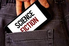 Écriture conceptuelle de main montrant la science-fiction Avènement fantastique futuriste de présentation de genre de divertissem photos stock