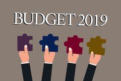 Écriture conceptuelle de main montrant le budget 2019 Évaluation de nouvelle année des textes de photo d'affaires des revenus et  illustration de vecteur