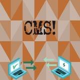 Écriture conceptuelle de main montrant le CMS Modification d'assistances techniques de gestion de contenu des textes de photo d'a illustration stock