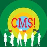 Écriture conceptuelle de main montrant le CMS Modification de présentation d'assistances techniques de gestion de contenu de phot illustration libre de droits