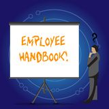 Écriture conceptuelle de main montrant le guide des employés Guide manuel de présentation de règles de règlements de document de  illustration de vecteur