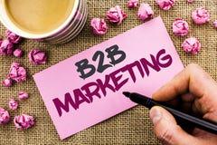 Écriture conceptuelle de main montrant le marketing de B2B Transactions commerciales d'entreprise à entreprise b écrit par commer Images stock