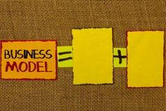 Écriture conceptuelle de main montrant le modèle économique Photo d'affaires présentant l'identification réussie de plan de visio Image libre de droits