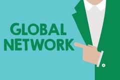 Écriture conceptuelle de main montrant le réseau global Photo d'affaires présentant tout système de communication qui enjambe la  illustration de vecteur