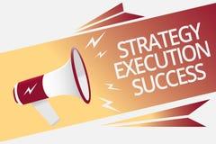Écriture conceptuelle de main montrant le succès d'exécution de stratégie Texte de photo d'affaires mettant le plan ou la liste e illustration stock