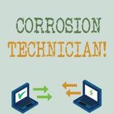 Écriture conceptuelle de main montrant le technicien de corrosion Corrosion de présentation d'installation et de maintien de ph illustration stock