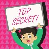 Écriture conceptuelle de main montrant le top secret Les informations les plus élevées de dossiers fortement confidentiels de sec illustration libre de droits
